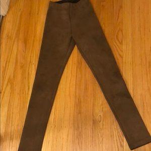 Bcbg faux suede leggings xxs cognac brown